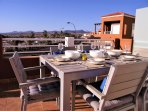 Enjoy the view of the mountains when you dine alfresco on the main terrace