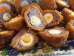 Delicious scotch eggs made with our very own quails eggs.