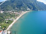 Aerial view Agios Gordios bay