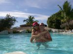 A beautiful couple enjoying this amazing place. Adults only pool.