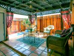 Large Private indoor/outdoor cabana. Shed (left) extra storage,