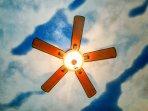 Bedroom Ceiling: Blue-Sky with Fan