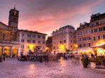 Santa Maria in Trastevere during the sunset