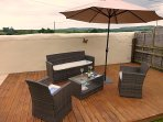One of the decking areas with comfortable seating