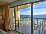 You can get to the balcony right from the master bedroom.