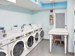 The building offers laundry machines for your convenience.