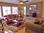 Modern rustic living room offers a cozy space for relaxing and visiting.