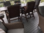 Rear deck with plenty of seating options and amazing views