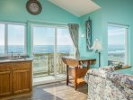 Beautiful balcony views of the surf from the sunny living area