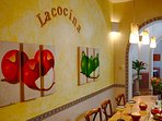 Kitchen has a great bar area for breakfasts or drinks with lots of Mexican color and charm.