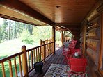 Huge covered deck w picnic table, rockers & bistro set for riverfront coffee and wildlife viewing.