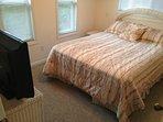Bedroom, queen size bed and smart tv