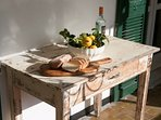 Old convent table with local produce!