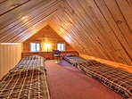 Additional sleeping for up to 4 guests can be found in the attic.