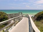 One of many boardwalks leading down to the sugar-white sands and turquoise waters in Santa Rosa Beach