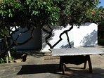 mesa de pedra rustica para o cha da tarde