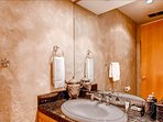 The powder room is perfect for guests.