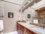 Double sinks make this bathroom especially functional.