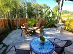 Back yard with BBQ, fire pit, and comfortable outdoor seating