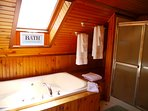 1 Of the 3 1/2 bathroom in the lodge. with shower and Jacuzzi tub! sink for 2
