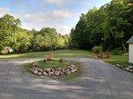 large circular driveway and front yard