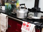 Aga for cooking and airer above to dry clothes