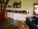 Living area and kitchenette