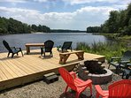 Lake side deck and fire pit