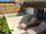 private roof-terrace with palapa and plunge pool