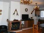 Casa Rosa Dining Area & Open Fireplace.