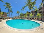 Blue skies, swaying palms and a beautiful pool to relax in and around.  Don't forget the sunscreen!