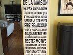 House rules! ''Rire beaucoup'' means''Laugh a lot''!