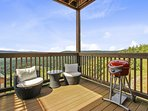 The deck off of master bedroom with Amazing views. George Foreman Electric grill to grill a steak.