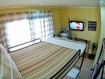 Bedroom view with flat screen tv and premium movie channels