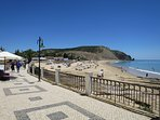 The attractive paved beach promenade has occasional seats and cafes for refreshments