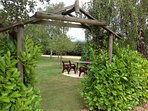 Tables and chairs are dotted around for our guests to relax and enjoy the grounds.