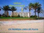 Foto del Edificio desde la playa. En 1ª linea y junto a un gran parque. Parque Dels Prats.