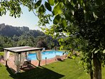 View of the Umbrian landscape from the pool
