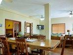 Large mahogany dining table seats eight