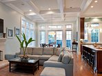 Spacious open living space with 14ft coffered ceiling