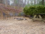 A Private Fire Pit, Picnic Table, and Charcoal Grill (just out of the picture to the right)