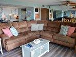 Spacious living room with comforting furnishings