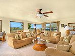 Living room with 270 degree views, AC, fan, flat cable new TV, CD/DVD/radio - wood floor now