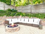 outdoor firepit with large seating area