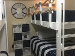 New Nautical bunk bed room with new mattresses and carpet.