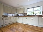 Large modern kitchen fully equipped for self catering holidays