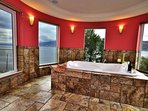 Double Jacuzzi Tub in the Master Bedroom with Panorama Lake view.