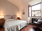 The blue bedroom, double or twin beds view onto courtyard