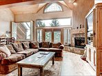 Living Room has Vaulted Ceilings and a Gas Fireplace