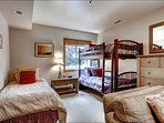 Fourth Bedroom has a Twin Bunk Bed and Twin Bed